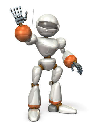 3dcg: A friendly robot is waving. isolated, computer generated image