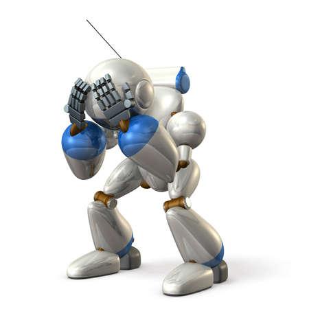 arrepentimiento: Robot lamenta mientras sostiene una cabeza. imagen aislada, generado por ordenador Foto de archivo