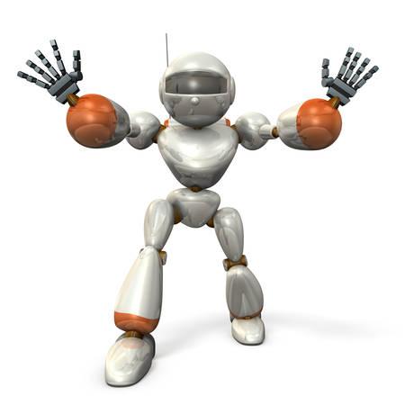 両手を広げて立っているロボット。、分離、コンピューター生成画像 写真素材