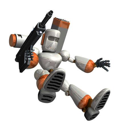 Combat robot is trying to land. the isolated computer generated image