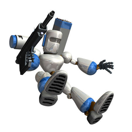 accretion: Combat robot is trying to land. the isolated computer generated image