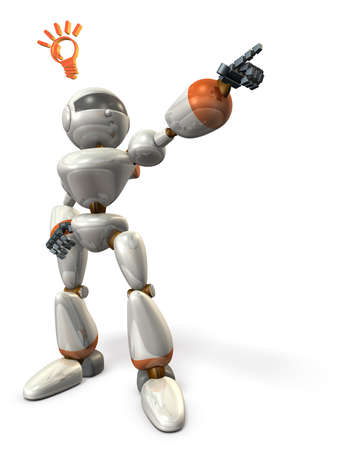 Robot is pointing the goal.isolated, computer generated image 写真素材
