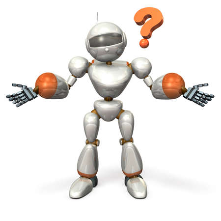 unresolved: Robot opens its arms. It is wondering about. Stock Photo