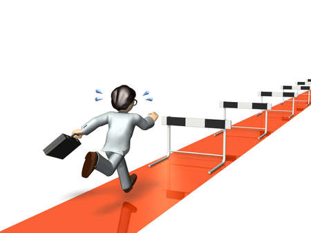 hurdles: Businessman will challenge a lot of hurdles. computer