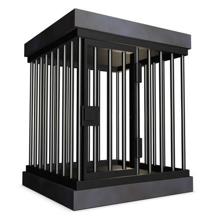 iron bars: Cage made of steel. isolated, computer generated image