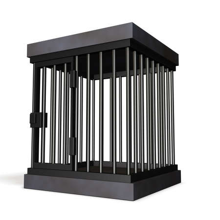 imprisonment: Cage made of steel. isolated, computer generated image