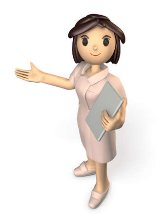 one person: Kindly nurses will guide. isolated, computer generated image
