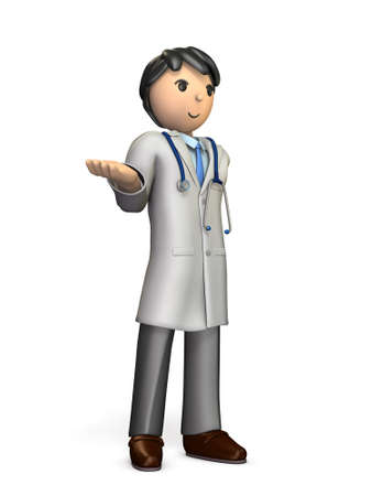 trustworthy: A friendly doctor has to introduce something. isolated, computer generated image Stock Photo