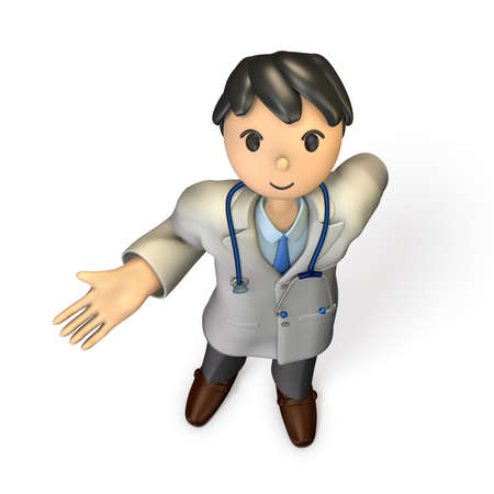 introduce: A friendly doctor has to introduce something. isolated, computer generated image Stock Photo