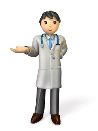 describing: A friendly doctor has to introduce something. isolated, computer generated image Stock Photo