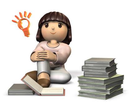 女の子には、読書が大好き。想像します。分離、コンピューター生成画像 写真素材