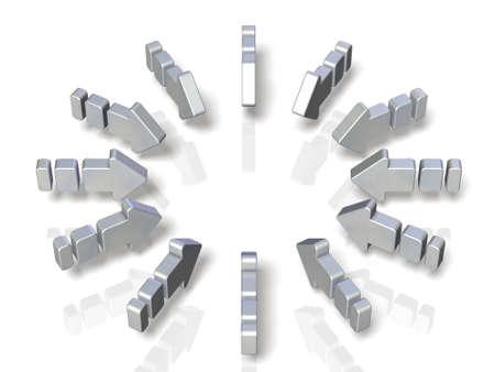 3dcg: 12 arrows are arranged in a circular shape toward the center. Stock Photo