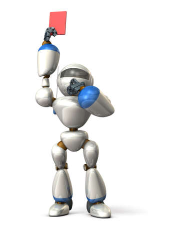 Robot has presented a red card. isolated, computer generated image Stock Photo