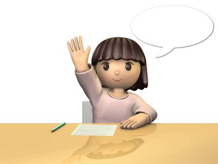 Meisje geeft antwoord op het nemen van een hand. geïsoleerde beeld, computer gegenereerde