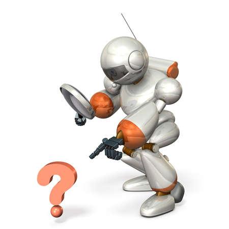 descubridor: Robot ha encontrado algo. imagen aislada, generado por ordenador Foto de archivo