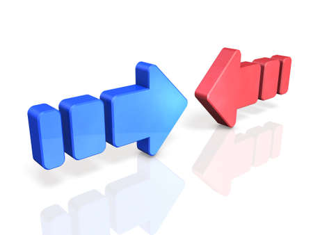 conflicting: Two conflicting arrows. They are the struggle of two forces. Stock Photo