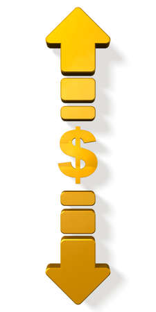 foreign exchange rates: Currency symbols and up and down arrows. isolated, computer generated image