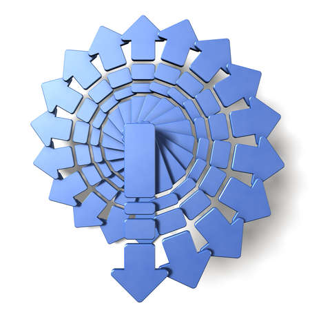 overlaying: Spiral of arrows. It looks, There is no blind spot. Stock Photo