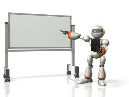 commentary: Robot will comment something in front of the whiteboard. isolated, computer generated image