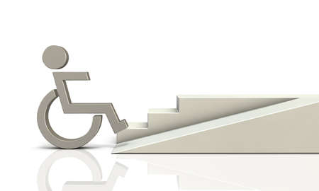 wheelchair users: Access ramp for wheelchair users. isolated, computer generated image