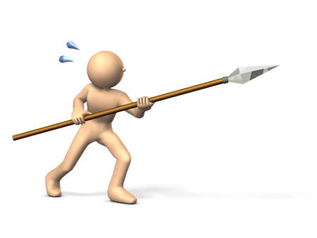 defensive: Warrior fighting with a spear. isolated, computer generated image Stock Photo