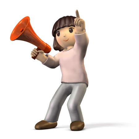 outlook: Girl has hand microphone. She points to something. isolated, computer generated image Stock Photo