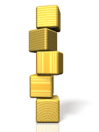 instability: Overlapping blocks are implying instability. Stock Photo
