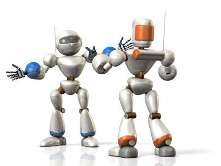 taught: Two robots are sharing the information.