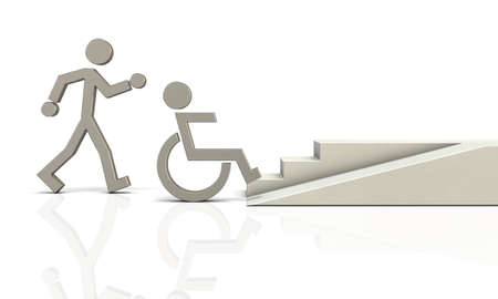 3dcg: Abstract 3DCG representing the coexistence of healthy people and people with disabilities Stock Photo