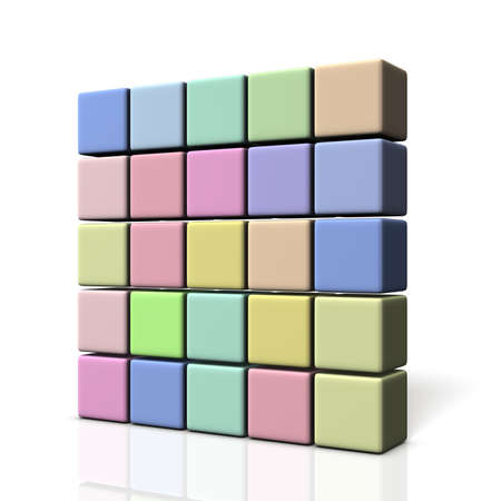 stacking: Wall made of colorful boxes. isolated, computer generated image