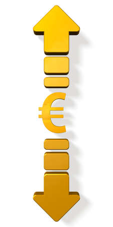 foreign currency: Currency symbols and up and down arrows.  isolated, computer generated image