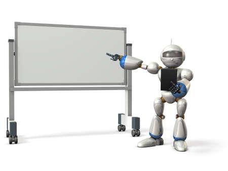ロボットは、ホワイト ボードの前で何かをコメントします。分離、コンピューター生成画像
