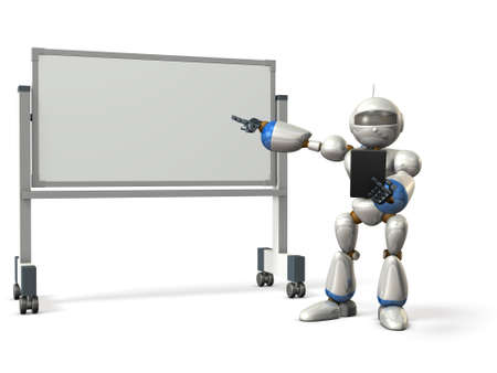 Robot will comment something in front of the whiteboard. isolated, computer generated image