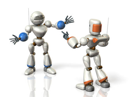 persuasion: Two robots are sharing the information. isolated, computer generated image