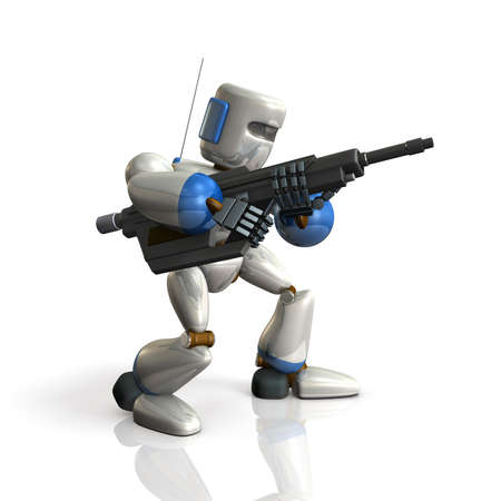 soldier with rifle: Robot Soldier sets up a rifle. isolated, computer generated image Stock Photo