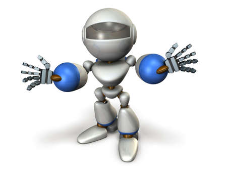 introducing: Child robot is introducing himself. computer generated image Stock Photo