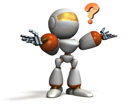 puzzled: Child robot is puzzled. computer generated image Stock Photo