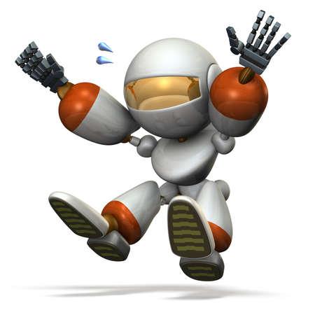 salto de longitud: robot niño juega con el salto de longitud. imagen generada por ordenador