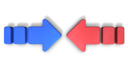 friction: Two conflicting arrows. They are the struggle of two forces.computer generated image Stock Photo
