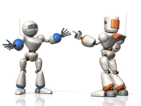 information  isolated: Two robots are sharing the information. isolated, computer generated image