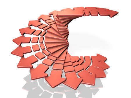circular arrow: Many arrows rise while rotating in a spiral shape. computer generated image