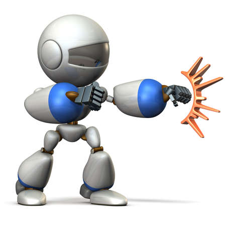 Child robot attacks. computer generated image