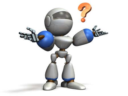 어린이 로봇이 당황합니다. 컴퓨터 생성 이미지
