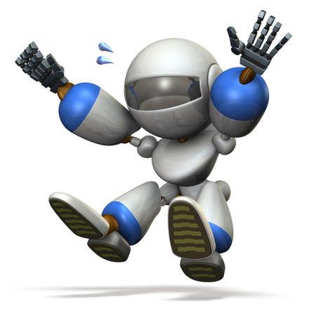salto largo: robot ni�o juega con el salto de longitud.