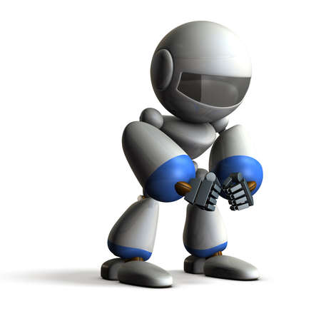 paranoia: Robot has fallen into paranoia. computer generated image
