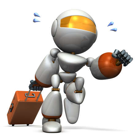 Cute robot is starting to travel. computer generated image