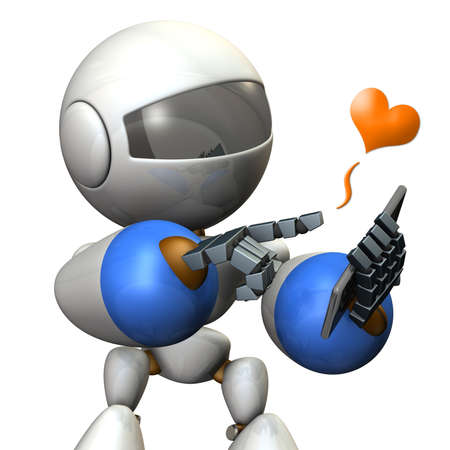 talking robot: Robot has a phone call. computer generated image Stock Photo