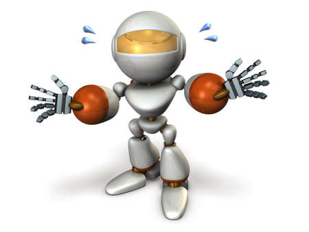 earnestly: The robot has a self introduction earnestly. computer generated image