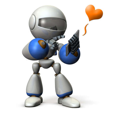 flick: Robot has a phone call. computer generated image Stock Photo