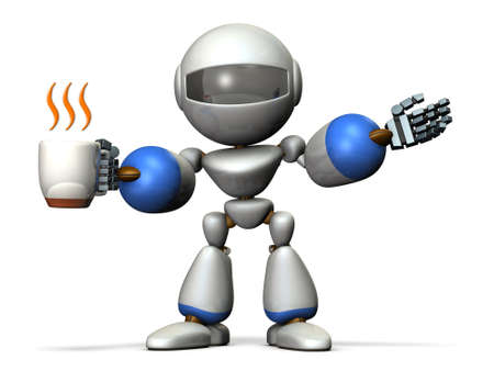 settle: Robot has a greeting while having a cup of coffee in one hand. computer generated image